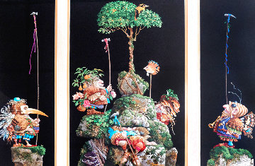 Six Bird Hunters in Full Camouflage, Set of 3 Prints in 1 Frame 1994 Limited Edition Print - James Christensen