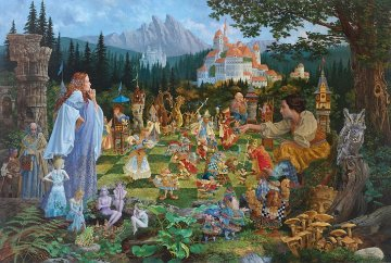 Chess Match 2011  46x84 Original Painting - James Christensen