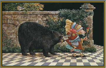 Lawrence Pretended Not to Notice That a Bear Had Become Attached to His Coattail 1991 Limited Edition Print - James Christensen