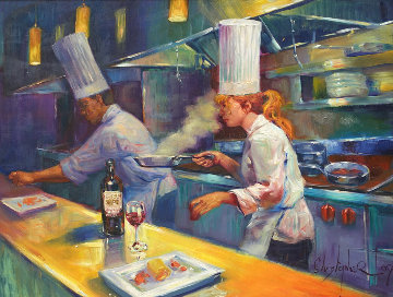 Chef in Kitchen 54x65 Huge Original Painting - Christopher M