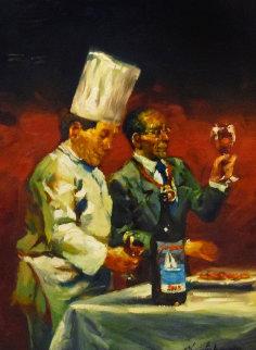 Aliments Et Festival De Vin Study 24x18 Original Painting - Christopher M