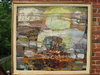 Untitled Painting 1980 43x39 Super Huge Original Painting by Lau Chun - 1