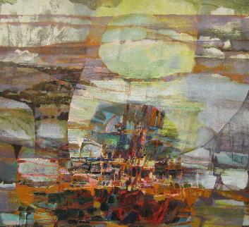 Untitled Painting 1980 43x39 Huge Original Painting - Lau Chun