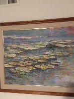 Lily Pads 1989 48x38 Super Huge Original Painting by Lau Chun - 3