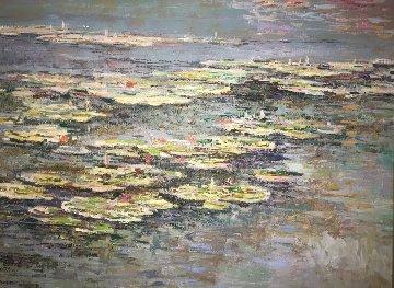 Lily Pads 1989 48x38 Original Painting - Lau Chun
