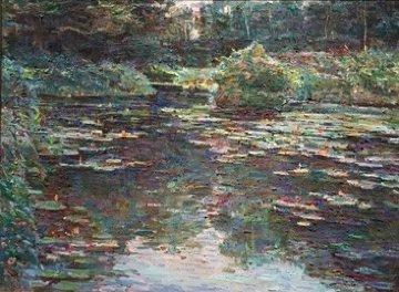 Water Garden 1989 48x38 Original Painting - Lau Chun