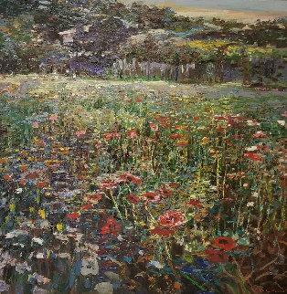 Flower Field 1989 44x44 Huge Original Painting - Lau Chun