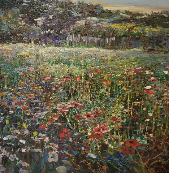 Flower Field 1989 44x44 Original Painting by Lau Chun