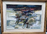 Untitled Abstract Painting 1978 19x21 (Early) Original Painting by Lau Chun - 1