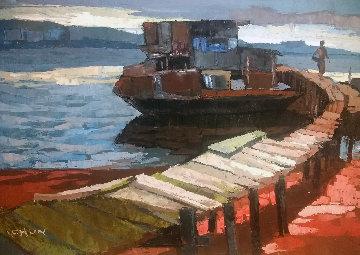 Pier 1968 23x33 Original Painting - Lau Chun