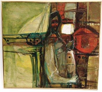 Abstract  (Figure) 1968 20x22 Original Painting - Lau Chun