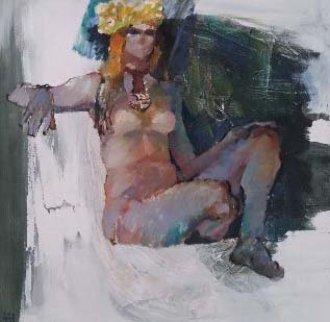 Untitled Nude 1974 36x36 Original Painting by Lau Chun