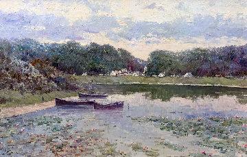 Boat Scene 31x43 Original Painting - Lau Chun