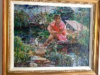 Girl on Pond 31x37 Super Huge Original Painting by Lau Chun - 2