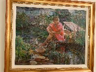 Girl on Pond 31x37 Super Huge Original Painting by Lau Chun - 1