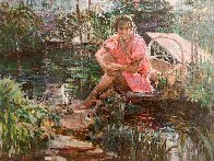 Girl on Pond 31x37 Super Huge Original Painting by Lau Chun - 0