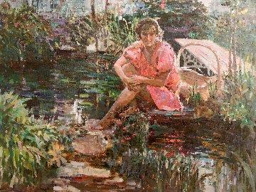 Girl on Pond 31x37 Huge Original Painting - Lau Chun
