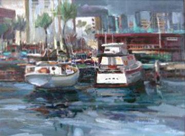 Honolulu Harbor, Hawaii 1981 27x32 Original Painting by Lau Chun