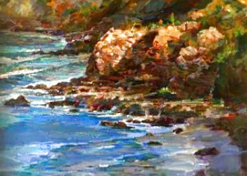 Seascape 2004 39x51 Super Huge Original Painting - Lau Chun