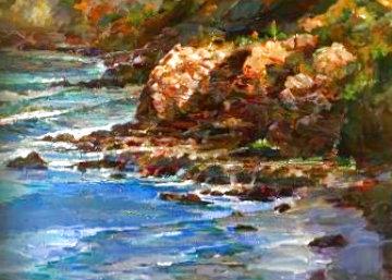 Seascape 2004 39x51  Huge Original Painting - Lau Chun