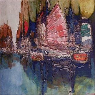 Junks in Hong Kong Harbor 1960 Original Painting - Lau Chun