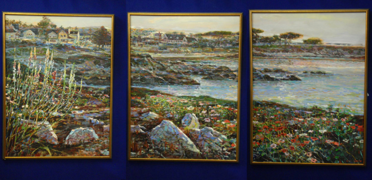 Lovers Point, Monterey Ca  Triptych 1996 50x114 Super Huge Mural Original Painting by Lau Chun