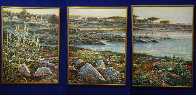 Lovers Point, Monterey Ca  Triptych 1996 50x114 Super Huge Mural Original Painting by Lau Chun - 0