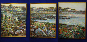 Lovers Point, Monterey Ca  Triptych 1996 50x114 Super Huge Mural Original Painting - Lau Chun