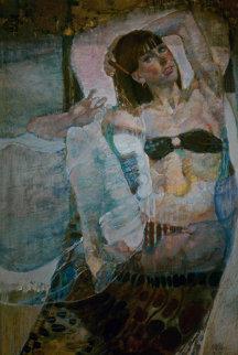 Untitled Reclining Woman 1975 49x31 Huge Original Painting - Lau Chun