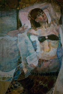 Untitled Reclining Woman 1975 49x31 Super Huge Original Painting - Lau Chun