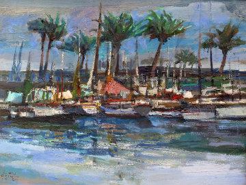 Untitled Hawaiian Landscape 25x31 Original Painting - Lau Chun