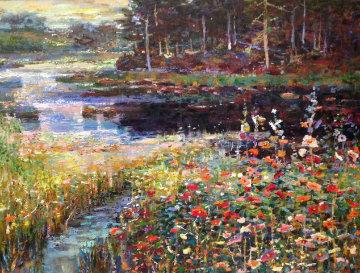 Summer Tranquility 1985 35x45 Original Painting - Lau Chun