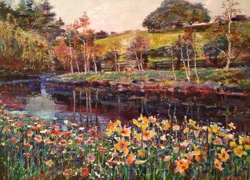 Floral Stream 35x45 Original Painting - Lau Chun