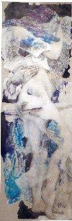 L'esprit Souffle En Dehors De L'esprit 2005 71x31  Huge Original Painting - Viviane Cisinski
