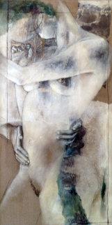 Ambiguite I 2001 56x33 Huge Original Painting - Viviane Cisinski