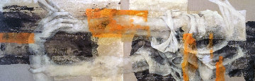 Processus D'influence 2008 32x72 Original Painting - Viviane Cisinski