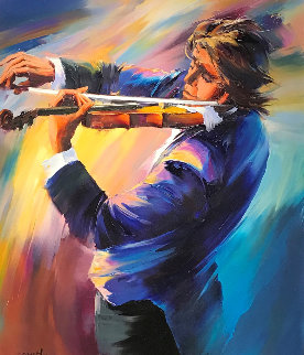 Violinest 42x37 Super Huge Original Painting - Christian Jequel