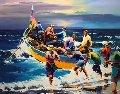 Portuguese Fisherman 42x48 Original Painting - Christian Jequel