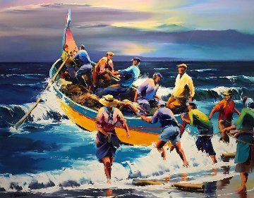 Portuguese Fisherman 42x48 Super Huge Original Painting - Christian Jequel
