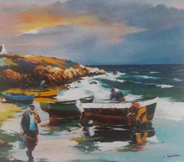 Crique Bretonne 39x35 Original Painting - Christian Jequel