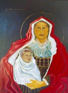 Madonna De Santa Fe 1984 31x39 Original Painting - C.J. Wells