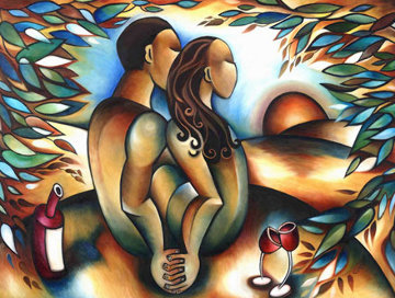 Lovers At Sunset 36x48 Limited Edition Print by Stephanie Clair