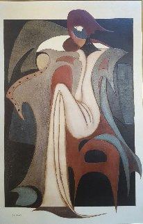 La Femme D' Arlequity 48 X 32 Original Painting - Jean Claude Gaugy