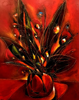 Etude Floral 2002 72x60 Super Huge Original Painting - Jean Claude Gaugy
