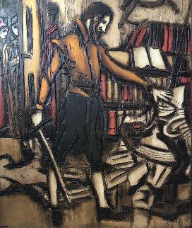 Untitled Painting on wood  1974 60x48 Huge  Original Painting - Jean Claude Gaugy