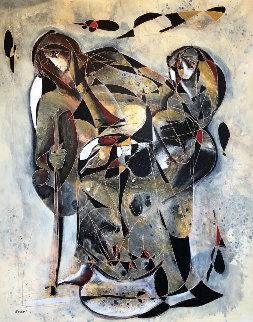 Le Voyage De La Mere (Mother's Journey) 71x59 Original Painting by Jean Claude Gaugy