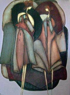 Les Dulcinees 1989 34x42 Original Painting - Jean Claude Gaugy