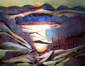 Lumiere Rouge (on wood) 2010 48x48 Huge Original Painting - Jean Claude Gaugy