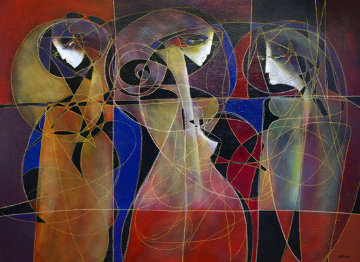 Trois Figures Mondernes 2011 48x60 Super Huge Original Painting - Jean Claude Gaugy