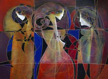 Trois Figures Mondernes 2011 48x60 Super Huge Original Painting - Jean Claude Gaugy
